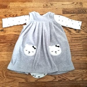 Fleece Pinifour Style Dress 12M
